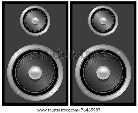 Raster Set of Black and Grey Stereo Speakers