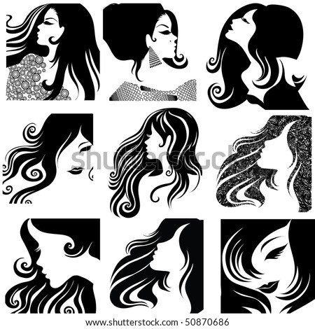 """RASTER set of closeup silhouette portrait of beautiful woman with long hair (From my big """"Vintage woman collection """") - stock photo"""