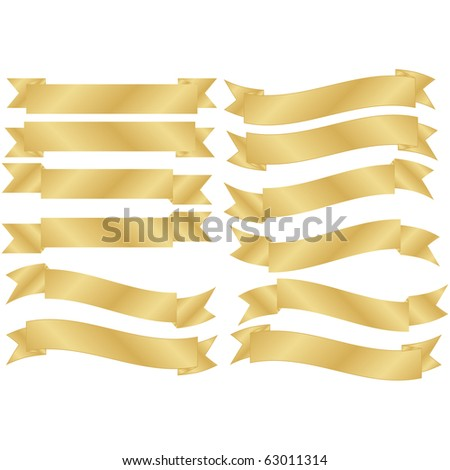 Raster Set of 12 Gold Banners - stock photo