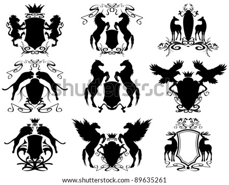 raster - set of heraldic shields (vector version is available in my portfolio) - stock photo