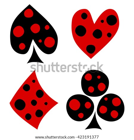 Raster set of playing card symbols. Hand drawn decorative black and red icons with dots isolated on the backgrounds. Graphic illustration
