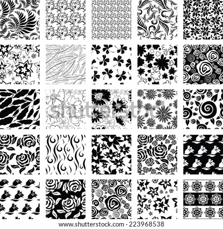 RASTER set of seamless floral pattern with flowers and leafs - stock photo