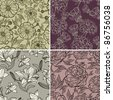 "RASTER set of seamless floral pattern with herbarium (from my big ""Floral collection"") - stock photo"
