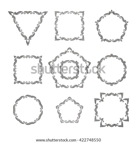 Vector Set Ten Different Elegant Retro Stock Vector 419578573
