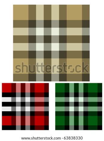 Raster Set of Three Plaid Seamless Backgrounds