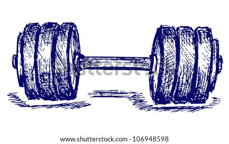 Raster sketch dumbbell weight - stock photo
