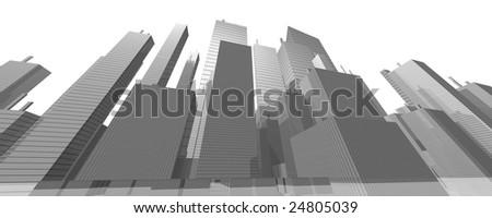 raster textured architecture skyline 3d - stock photo