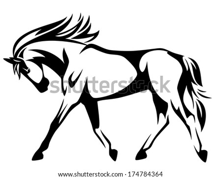 raster - trotting horse black and white outline - side view - stock photo