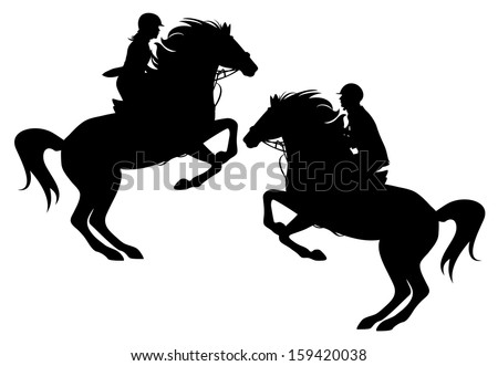 raster - two horsemen detailed silhouettes - man and woman (additional format also available)
