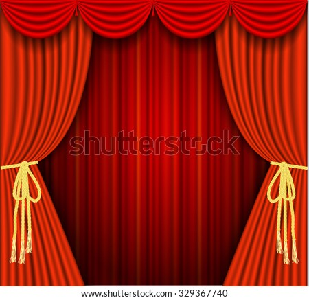 Raster version. A illustrations of a Theater stage with red Full Stage Curtains