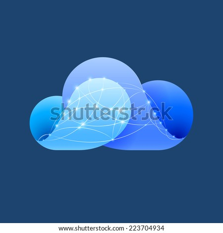 Raster version. Abstract blue cloud made of curved elements with shiny network sign. Cloud computing  - stock photo