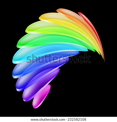 Raster version. Abstract curved shape made of colorful transparent layers. Illustration on black background  - stock photo