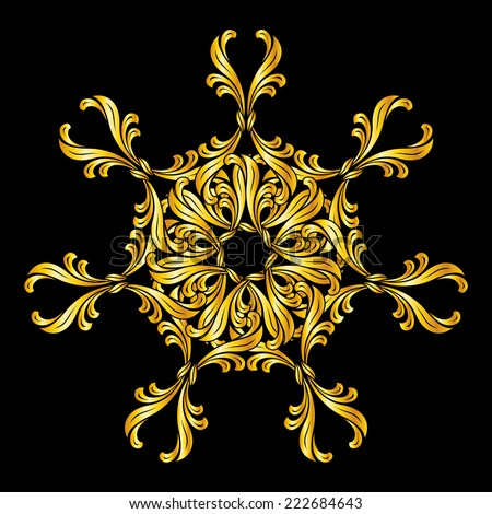 Raster version. Abstract floral design element in golden shades on black background