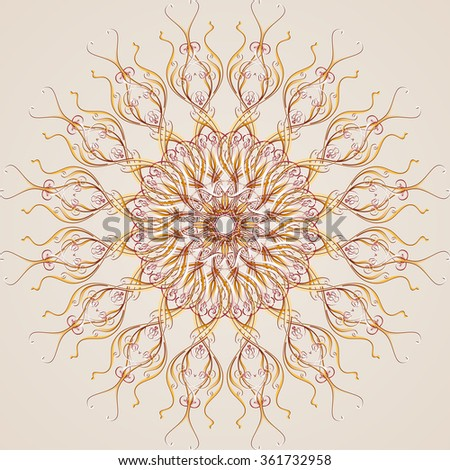 Raster version. Abstract floral pattern element in the form flower from vines - stock photo