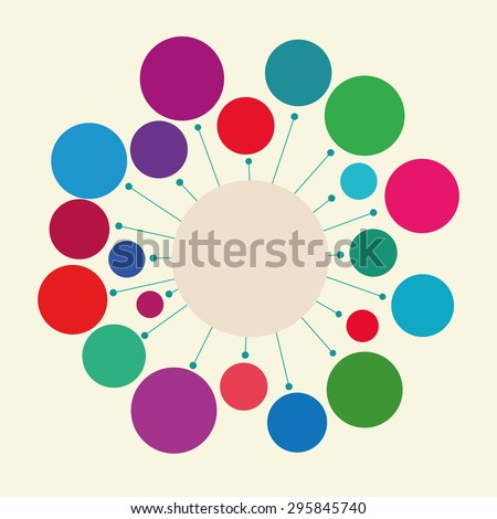 Raster version. Abstract geometric figure - a circle with rays. Design element or infographics. The harmonious color combination.