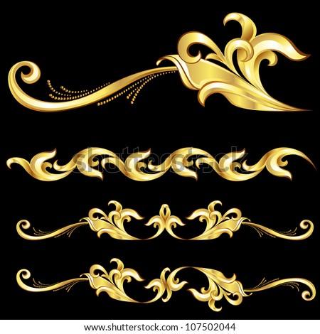 Raster version. Abstract Gold Frame.  Illustration on black background - stock photo