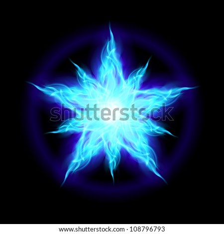 Raster version. Abstract Ice star. The form of the first. Illustration on black background