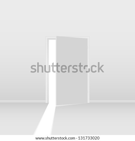 Raster version. Abstract open door. Illustration on white background for creative design - stock photo