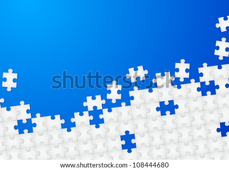 Raster version. Abstract Puzzle with Blue background. Illustration for design