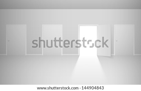 Raster version. Abstract room with four doors. Illustration for design