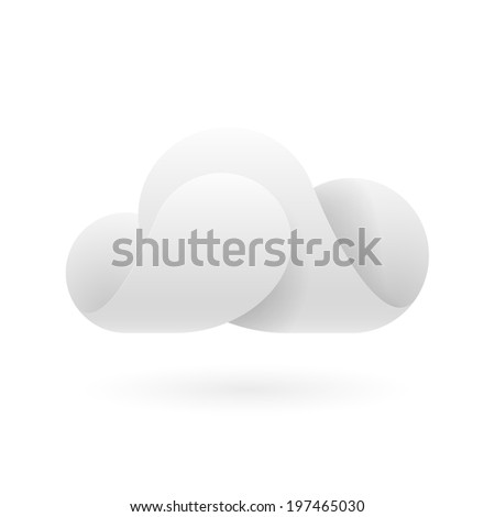 Raster version. Abstract white cloud made of connecting curved elements. Cloud computing - stock photo