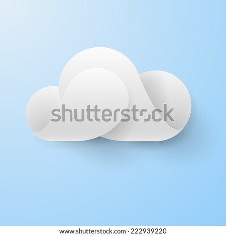 Raster version. Abstract white cloud made of curved elements on light blue background. Cloud computing sign  - stock photo