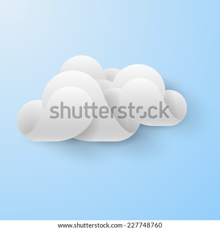 Raster version. Abstract white cloud made of curved elements on light blue background. Cloud computing  - stock photo