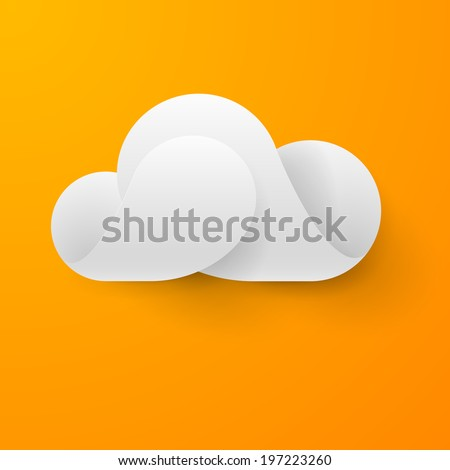 Raster version. Abstract white cloud made of curved elements on orange background. Cloud computing - stock photo