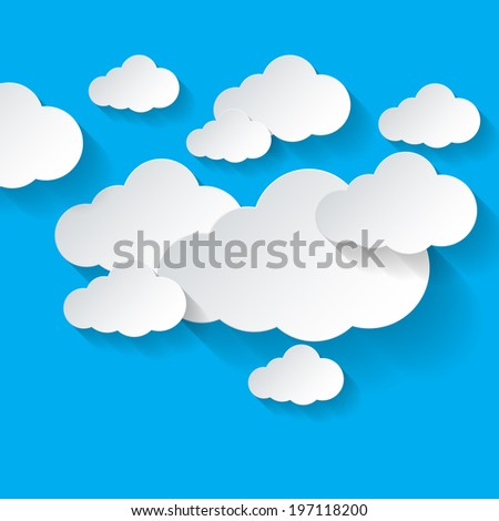 Raster version. Abstract white clouds pn blue sky background. Cloud computing - stock photo