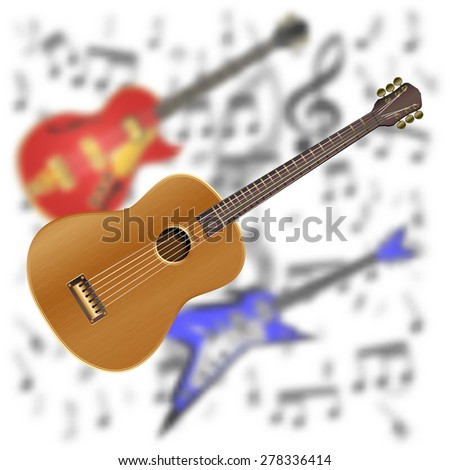 raster version acoustic guitar on the background of electric guitar - stock photo