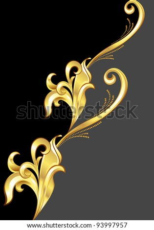 Raster version. An abstract gold pattern.  Illustration on black background for design