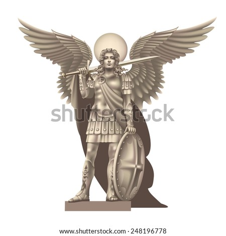 Raster version / Angel with a sword on a white background - stock photo