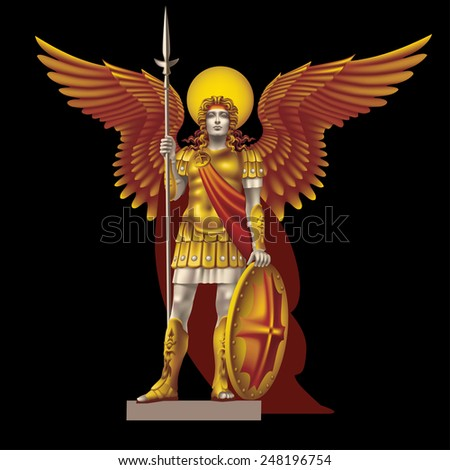 Raster version / Angel with spear color on a black background - stock photo