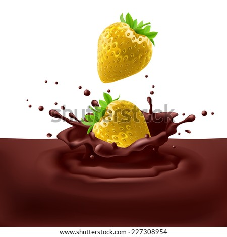 Raster version. Appetizing yellow strawberries dipping into chocolate with splashes  - stock photo
