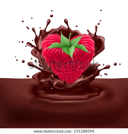 Raster version. Appetizng raspberry heart dipping into chocolate with splashes  - stock photo