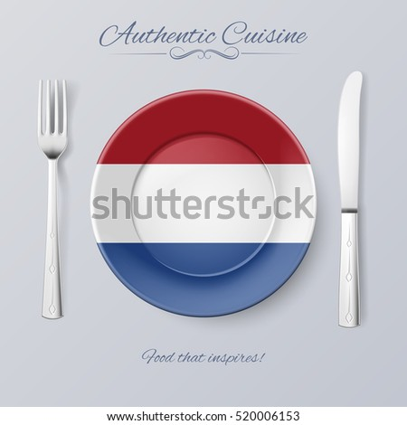 Raster version. Authentic Cuisine of Netherlands. Plate with Dutch Flag and Cutlery