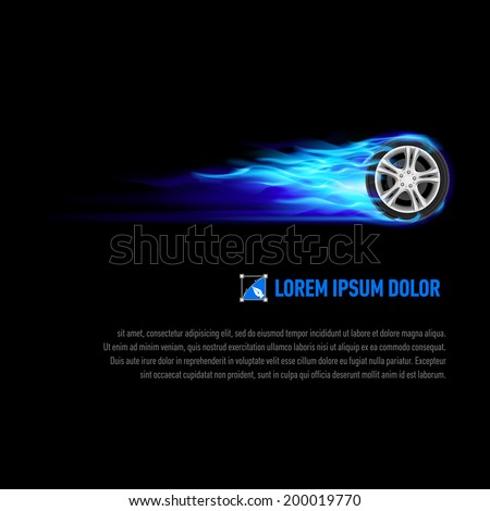 Raster version. Background with wheel in blue flame for your design - stock photo