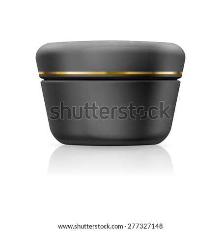 Raster version. Bank black cream with golden stripe isolated on a white background