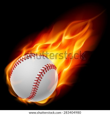 Raster version. Baseball on fire. Illustration on black background - stock photo