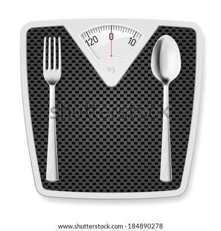 Raster version. Bathroom scales with fork and spoon as concept of diet and overweight.  - stock photo