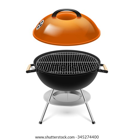 Raster version. BBQ grill with opened orange cap isolated on white