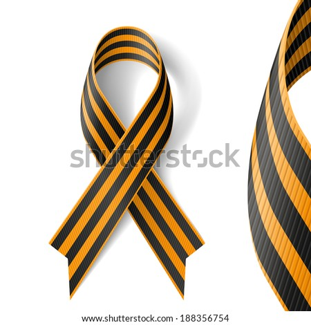 Raster version. Black and gold Ribbon of St George on white background.  - stock photo