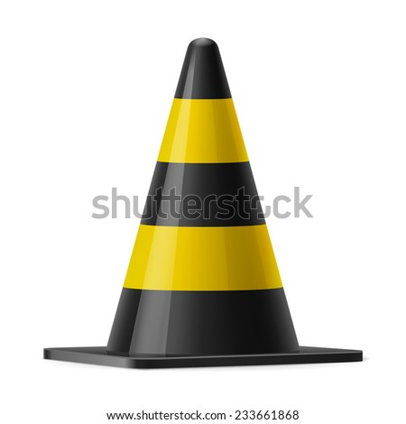 Raster version. Black and yellow traffic cone. Sign used to prevent accidents during road construction