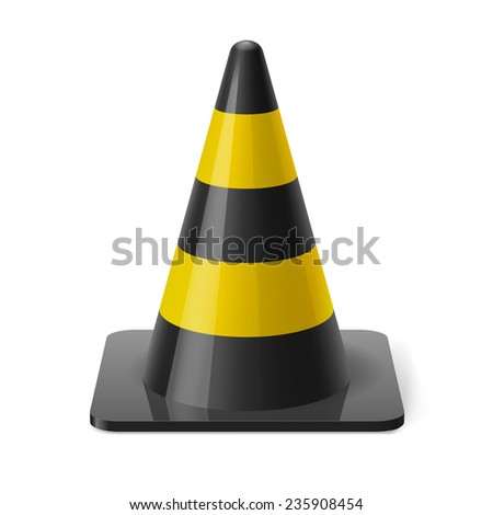 Raster version. Black and yellow traffic pylon. Safety sign used to prevent accidents during road construction