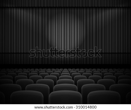 Raster version. Black curtain from the theatre with a spotlight and row chairs - stock photo