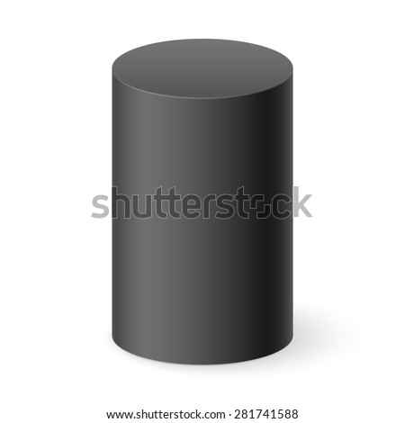 Raster version. Black 3d cylinder isolated on white background - stock photo