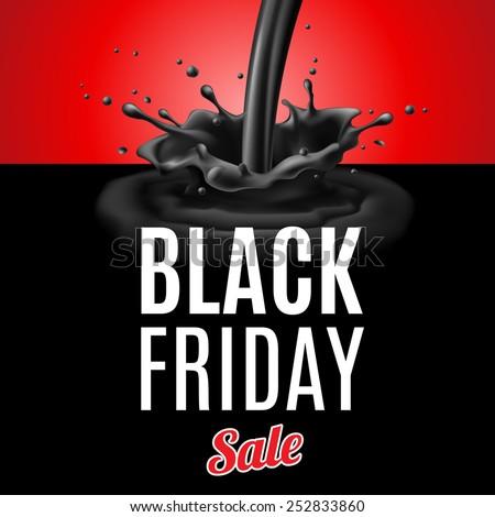 Raster version. Black Friday discounts. Illustration of plum black liquid pouring with splashes  - stock photo