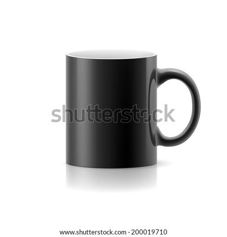 Raster version. Black mug made of ceramics on white background. - stock photo