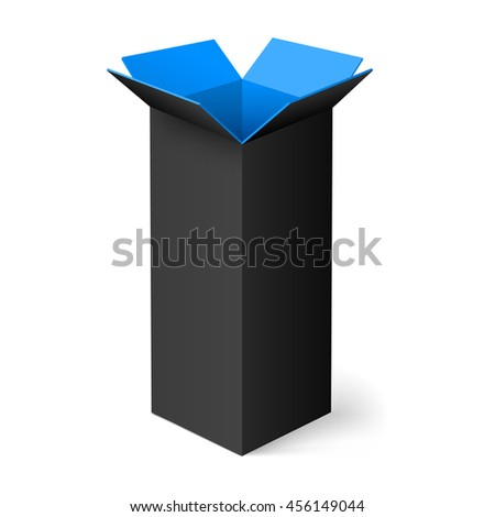Raster version. Black opened rectangular box with blue color inside - stock photo