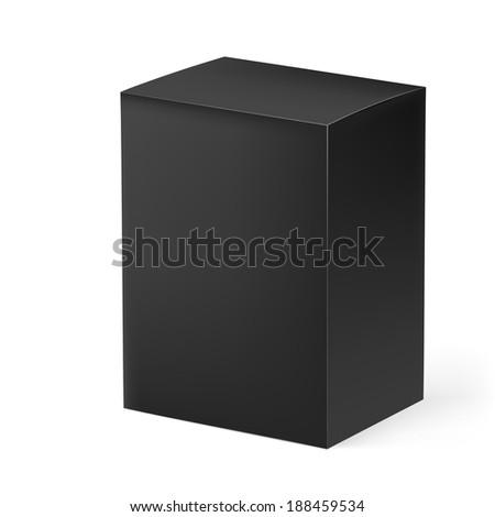 Raster version. Black rectangular box isolated on white background - stock photo
